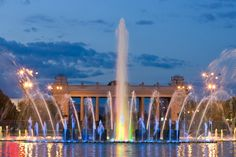 Light fountain in the Gorky Park, Moscow  by Василий Ковалев on 500px