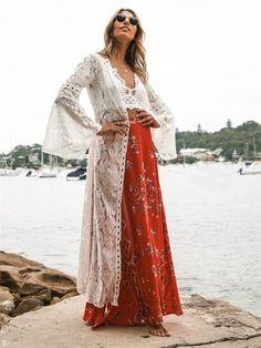 Nostalgia Bohemian Long Dress Cover Up Floral Lace Kimono Lace Kimono, Lace Maxi, Dress Lace, White Cover Up, White Fashion, Fashion Edgy, Fashion Trends, Fashion Wear, White Long Sleeve