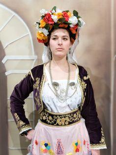 Traditional costume from Leykimmi, Corfu. Greek Traditional Dress, Traditional Outfits, Folk Dance, Macedonia, Folklore, Old World, Islands, Harajuku, Textiles