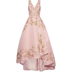 Oscar de la Renta Asymmetric embellished silk-faille gown (390.985 RUB) ❤ liked on Polyvore featuring dresses, gowns, long dresses, oscar de la renta, pink, long pink dress, silk gown, silk wrap dress, pink ball gown and pastel pink dress
