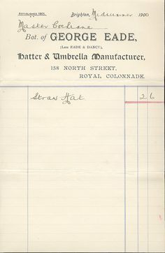 1900 receipts - Google Search