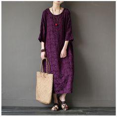 Women spring cotton vintage loose dress