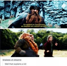 LOTR / The Hobbit. Fun fact: Bombur's actor actually sprinted past the whole party in reality, while being both heavier and carrying more weight than the rest of the dwarves.