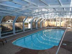 Winter swimming pool covers enclosures roofs solar for Swimming pool greenhouse