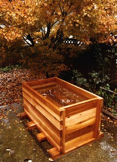japanese soaking tub that drains so we can fill it before use on hot days, then no standing water.