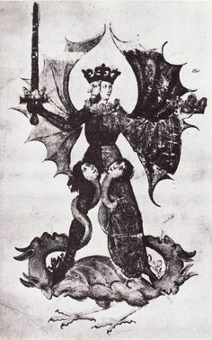 The Grand Hermetic Androgyne trampling underfoot the four elements of the prima materia. From the Codex Germanicus 598