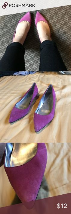 Guess pointy flats Few stains as shown on pics, still in great condition . Material is suede Guess Shoes Flats & Loafers