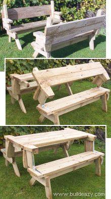 Folding Picnic Table Plans mesa de picnic plegable y convertible en bancos.