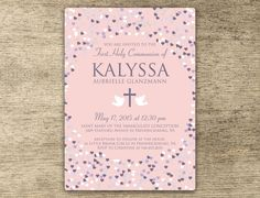 First Communion Invitation for Christian Girls - Printed or Digital File Options