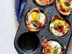 Mother's Day Brunch Recipes: These miniature egg cups are almost too cute to eat. They're filled with bacon and fresh herbs, and bake in muffin tins. Perfect for breakfast-in-bed. Muffin Tin Recipes, Egg Recipes, Brunch Recipes, Diet Recipes, Breakfast Recipes, Cooking Recipes, Healthy Recipes, Breakfast Muffins, Muffin Tins