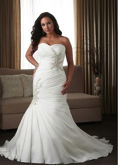 Stunning Taffeta & Satin Sweetheart Neckline Natural Waistline Mermaid Plus Size Wedding Dress