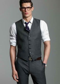 Vest, white shirt, wool, gray, glasses, men's fashion/style./ Fall-Holiday 2011/ Designer:J.Crew  Style:Worsted Wool Ludlow Suit - Vest  Price: 135.00  Style Number:36487  Buy:www.jcrew.com