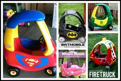 Crayon Freckles: 20 Ways to Redo a Cozy Coupe Cozy Coupe Truck, Cozy Coupe Makeover, Kids Play Equipment, Little Tikes, Batmobile, Fire Trucks, Projects For Kids, Fourth Of July, Kids Playing