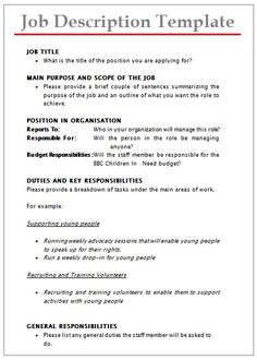 Job description template google search business information job description templates 10 printable pdf word formats wajeb