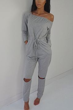 dd960e8d808 Grey Fashion Off-shoulder Hollow Knee Jumpsuit Fitted Jumpsuit
