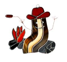 Bacon Cowboy Stained Glass Suncatcher, Funny Bacon, Cute Bacon, Bacon Stained Glass by AwesomeSauceDesigns on Etsy https://www.etsy.com/listing/119131835/bacon-cowboy-stained-glass-suncatcher