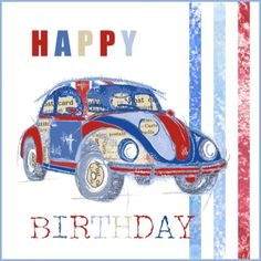 Volkswagen birthday cards | Red VW Beetle Birthday Card | Cards | Pinterest | Vw beetles, Cards ...