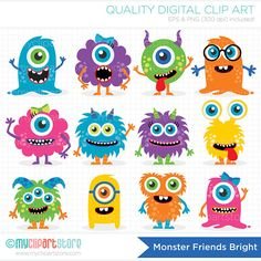 Monster Friends – Vector Clipart by MyClipArtStore on Creative Market - Obst Clipart Baby, Vector Clipart, Monster Party, Monster Birthday Parties, Cute Monsters, Little Monsters, Monster Clipart, Monster Vector, Mothers Day Crafts For Kids