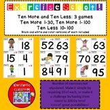 Math Task Cards - Exercise Scoot! Ten More and Ten Less