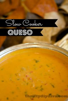 Delicious for holiday parties, gameday or anytime, really! #SlowCooker Queso Dip #Recipe — ThriftyDIYDiva.com #appetizers