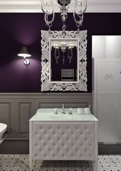 Purple Bathrooms, Purple Rooms, Bathroom Colors, Luxury Bathrooms, Bathroom  Wall, White