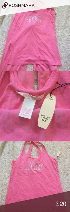 Victoria's Secret pink pajama set Victoria's Secret pink pajama set. Size tall XL. 100% cotton. Top is a racer back tank top. It has Victoria's Secret spelled out in silver. Long pants with a silver VS on the left hip. NWT. Never worn. Super comfy. Victoria's Secret Intimates & Sleepwear Pajamas