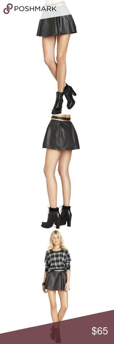 """BCBGengeration Welt Pocket Mini Skirt BCBGengeration Welt Pocket Mini Skirt Brand new with tags  Pair with a cozy knit for a cool juxtaposition of texture.  Mid-rise waist. Banded waist with piping trim. A-line. Front welt pockets. Center back zipper with hook-and-eye closure. Faux Leather. Imported.  Measures approximately 15.5"""" from waist to hem. Classic fit. BCBGeneration Skirts Mini"""
