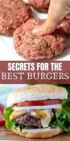 Best Hamburger Recipes, Best Burger Recipe, Beef Recipes, Cooking Recipes, Juicy Hamburger Recipe, Hamburger Party, Best Cheeseburger Recipe, Hamburger Sliders, Hamburger Seasoning