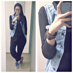 ootd. casual hijab outfit : jogger pants, tshirt, denim vest, adidas sneakers, pashmina Syaifiena W lookbook.nu/syaifiena