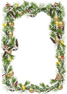 Christmas Transparent PNG Photo Frame with Christmas Balls and Pine Cones