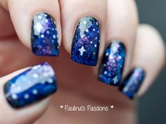 Gorgeous Galaxy Nails found at www.paulinaspassions.com