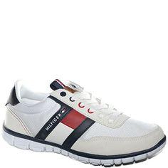 #Sneaker allacciata in tessuto bianco e pelle nera.