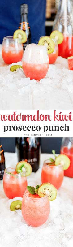 Watermelon Kiwi Prosecco Punch - Switch your regular mimosa for this watermelon kiwi mimosa with fresh watermelon and kiwi and kicked up with a little watermelon vodka. Prosecco Punch, Prosecco Cocktails, Fun Drinks, Cocktail Drinks, Beverages, Refreshing Cocktails, Raspberry Sangria, Blueberry Mojito, Daisies