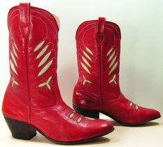 SOLD vintage cowboy boots womens 9 M B red white inlays western cowgirl  leather. $129.99, via Etsy.