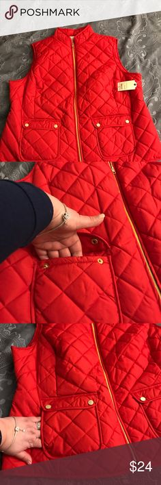 Women's vest by St John's Bay Quilted red vest from St John's bay. It looks red/orange to me, but it's officially red per product description from JCP. It has 4 pockets with gold like snaps and zipper. It's very light, not very puffy. Never worn. st johns bay Jackets & Coats Puffers