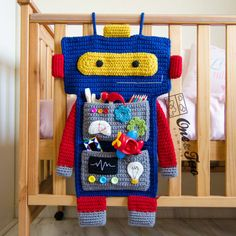 """Robot Organizer  PDF Crochet Pattern  Instant Download ~ so cute for toddler ~ easy/intermediate level ~ measurs. approx. 26"""" H ~ PURCHASED pattern - CROCHET"""
