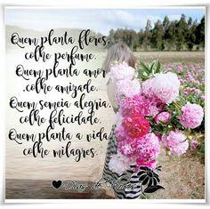 ✿⊱╮✿⊱╮✿⊱╮  Quem planta árvores, colhe alimento. Quem planta flores,colhe perfume. Quem semeia trigo,colhe pão. Quem planta amor,colhe amizade. Quem semeia alegria,colhe felicidade. Quem planta a vida,colhe milagres. Quem semeia verdade,colhe a confiança. Quem semeia fé,colhe a certeza. Quem semeia carinho,colhe gratidão. No entanto, há quem prefira semear tristeza e colher amargura. Plantar discórdia e colher solidão. Plantar ira e colher inimizade. Plantar injustiça e colher abandono…
