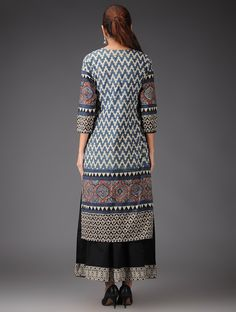 Buy Blue Beige Black Red Ajrakh Cotton ,Large Kurta : Length - 43in, Bust - 41in, Shoulder - 15in, Sleeve - 19in, Waist - 39in Dupatta : Length - 86in, Width - 42in Palazzo : Length - 36in, Waist - 40in
