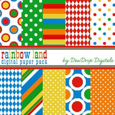Digital Scrapbooking Paper Pack Rainbow colors Scrapbook Papers Kit birthday carnival circus bright invitations