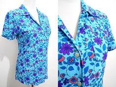 Spring Sale: blue floral button down top (medium) by VintageHomage