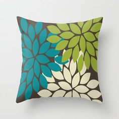 Bold Colorful Biege Brown Teal Green Dahlia Flower Burst Petals Throw Pillow by TRM Design on Wanelo