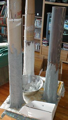 adding papier mache - although this is for an Ewok village, it gives me an idea to make trees for indoor decor.
