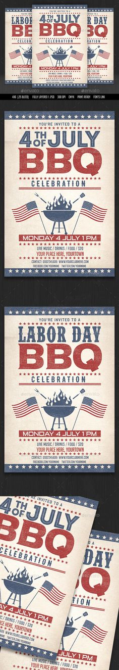 4th of July  /Labor Day BBQ Flyers - Events Flyers