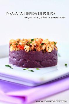 Insalata tiepida di polpo con purea di patate e carote viola #antipasti #pesce