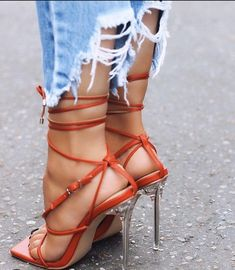 True Square Toe Lace Up Clear Perspex Heel In Red Faux Leather - Women Trends Sexy Legs And Heels, Hot High Heels, Me Too Shoes, Stiletto Heels, Shoes Heels, Stockings Heels, Gorgeous Feet, Killer Heels, Stilettos