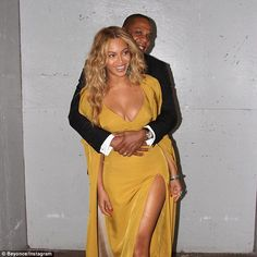 Loved up: Beyonce and Jay Z showed some rare PDA in this picture shared by the Queen Bey on Instagram on Saturday night