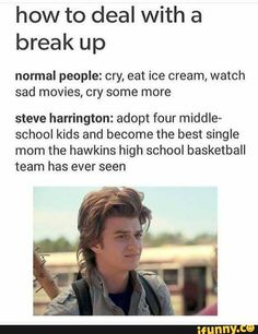 to Deal With a Breakup ft. Steve Harrington, Stranger Things Meme Stranger Things Meme How to Deal With a Breakup ft. Steve Harrington gronkh stranger thingsStranger Things Meme How to Deal With a Breakup ft. Stranger Things Quote, Stranger Things Have Happened, Stranger Things Steve, Stranger Things Aesthetic, Stranger Things Season 3, Stranger Things Theories, Steve Harrington Stranger Things, Sad Movies, Sad Movie Quotes