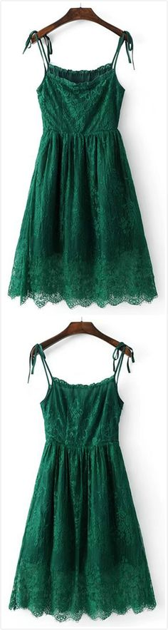 Cute Hollow Out Lace Slip Dress