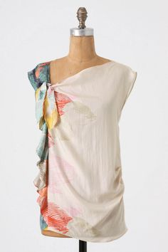 Anthropologie Paint-Box Blouse - Would love to try recreating this look with a border print turned sideways!