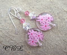 May - Hand Painted Pink Flower Disc, Crystal and Sterling Earrings - CLEARANCE